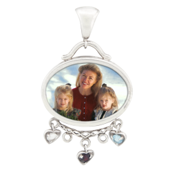 Oval Mother's Pendant -   Sterling Silver
