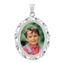 Oval Ribbon Pendant - Sterling Silver