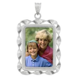 Rectangle Ribbon Pendant  - Sterling Silver