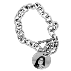 Toggle Style Bracelet with Round Charm - Sterling Silver