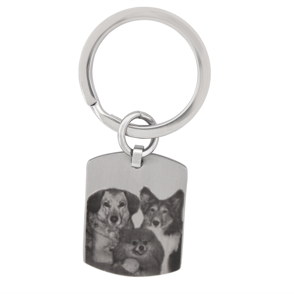 Dog Tag Key Ring Stainless Steel